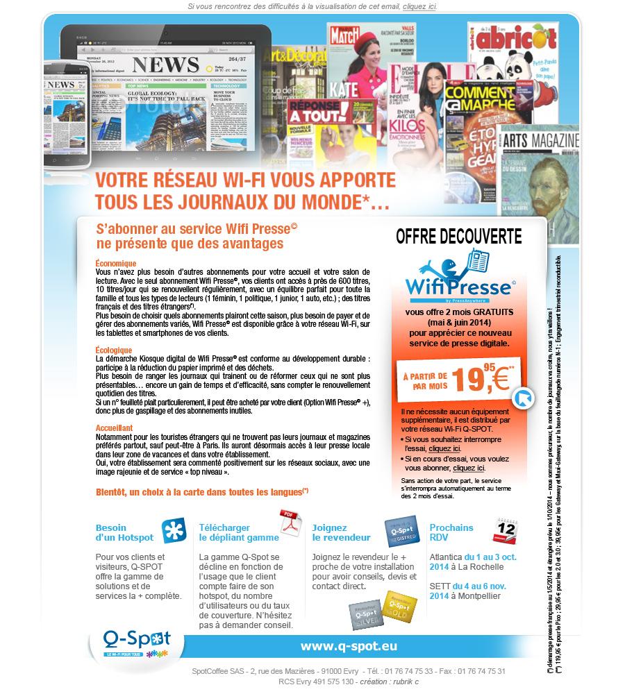 Q-SPOT lance son kiosque numérique : WifiPresse  Relations