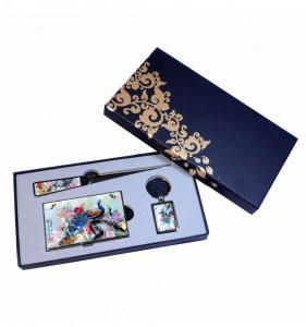 set-cadeau-porte-cartes-porte-clefs-et-coupe-papier-design-paon
