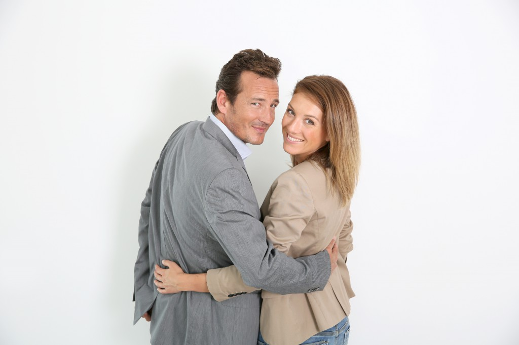 Mature couple on white background, isolated
