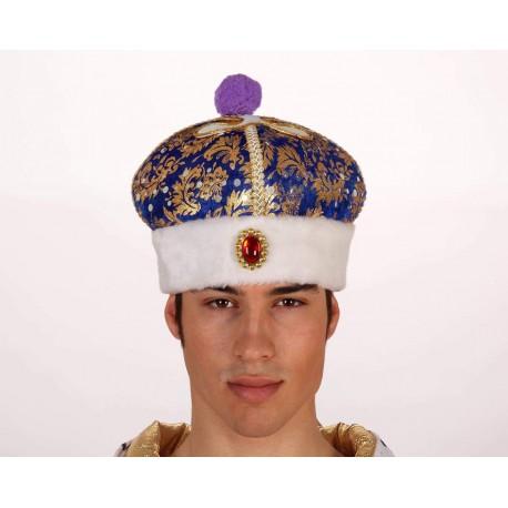 chapeau-couronne-de-prince-fourrure-bleu-et-or