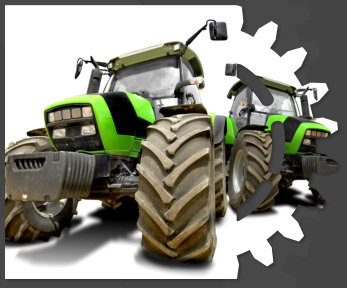 Green tractors isolated in white