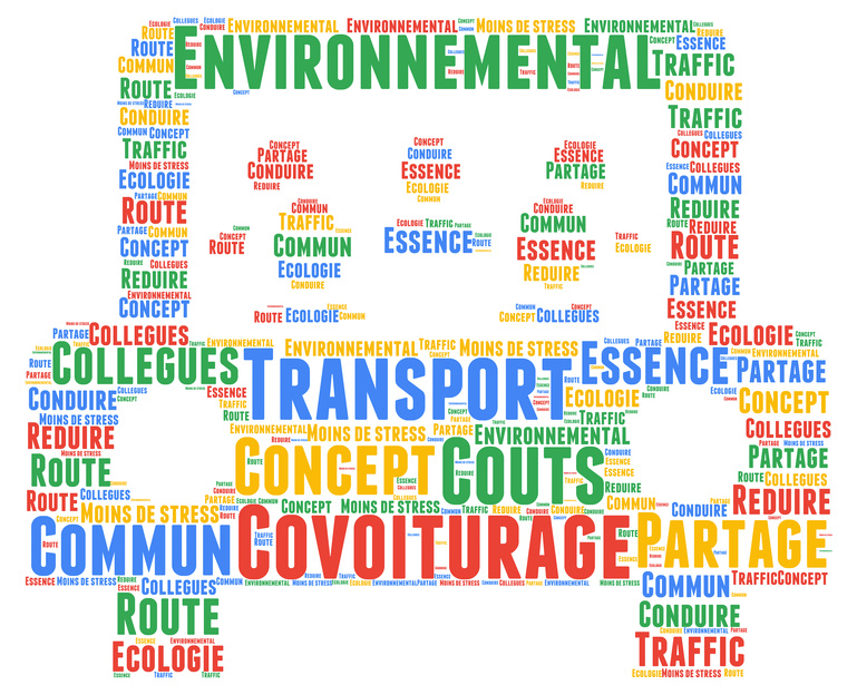 Carpooling word cloud concept with french text