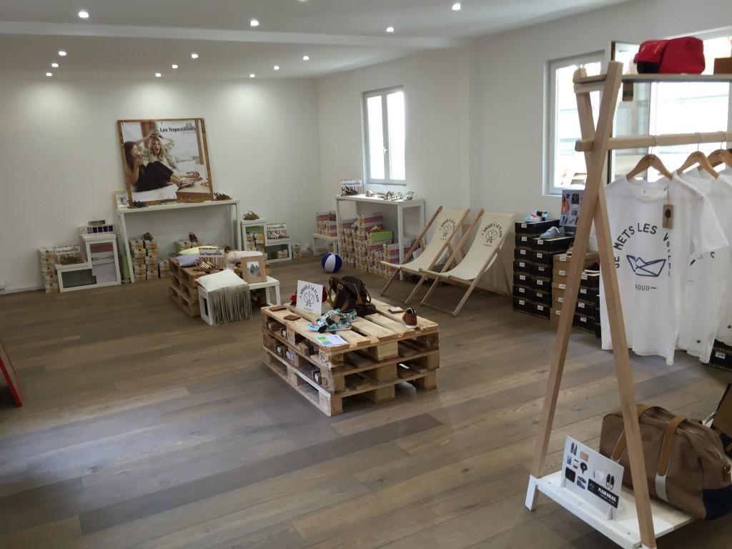 Aménagement de boutique - récupération de palettes