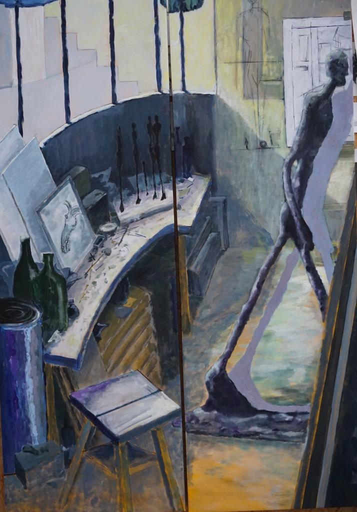 OK2017-1 Hommage à Giacometti_ Diptyque_ Huile et Acrylique sur toile_ 178x120cm