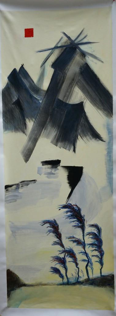 OK2017-44 _La nature et ses ombres 4_ Acrylique et huile sur toile 196x76 cm