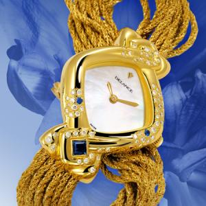 Aida_Montre personnalisée rêves en or sertie de 64 diamants et de 2 saphirs_forme