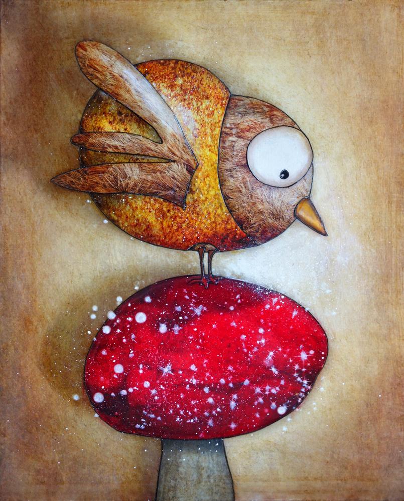 L'Oiseau et le champignon Magique  (41x33)