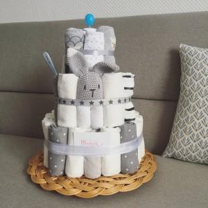 diaper cake gris nuage