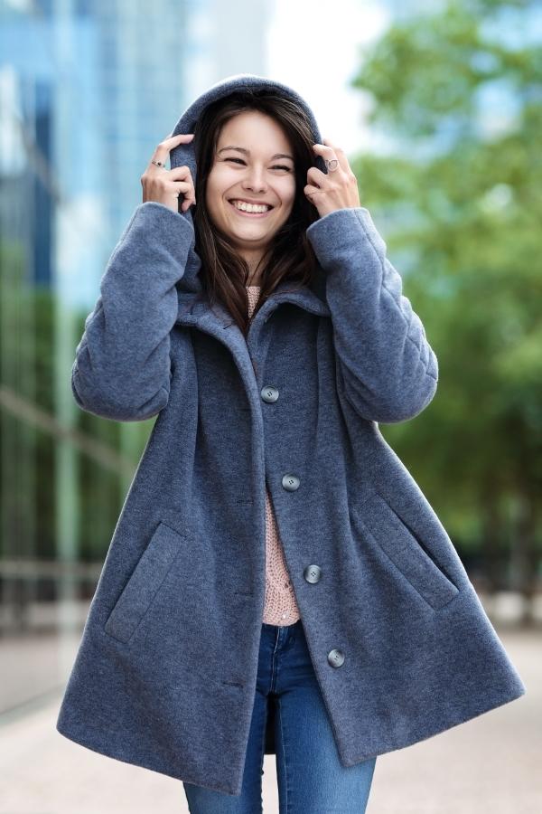 Manteau Cappa gris souris porté