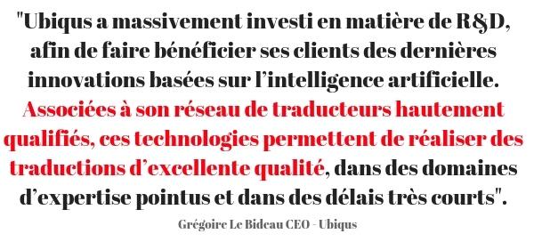 Ubiqus - NMT - Citation Grégoire Le Bideau