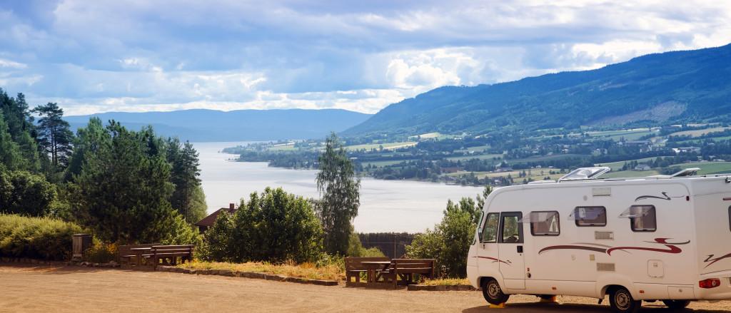 Camper van in countryside