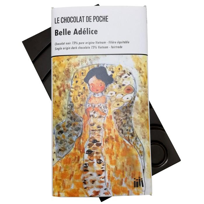 Sous-titre : tablette de chocolat noir 73% pure origine Vietnam, équitable et sans émulsifiant : 5€ TTC prix public – poids net 80g.