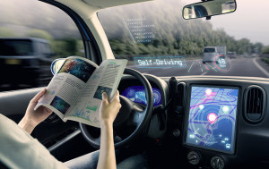 cockpit of autonomous car. a vehicle running self driving mode a