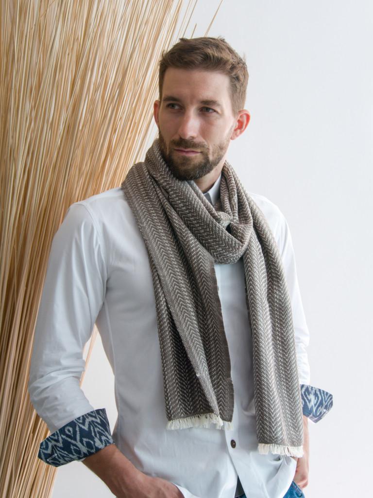 MUUDANA- Mode equitable fait main-Echarpe en coton mixte enroulée