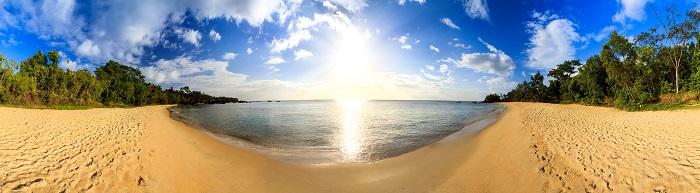 Beautiful 360 degree panorama at the beach of Masoala national p