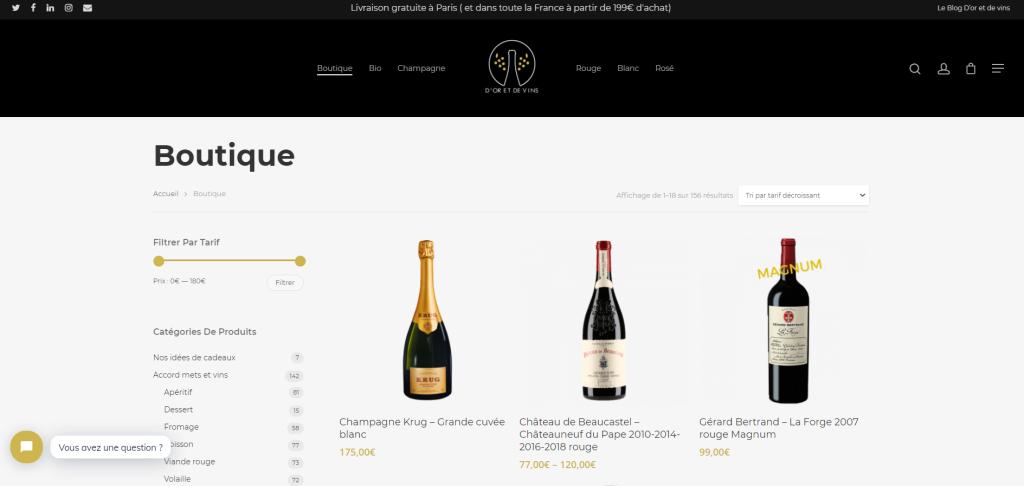 Screen boutique d'or e de vins