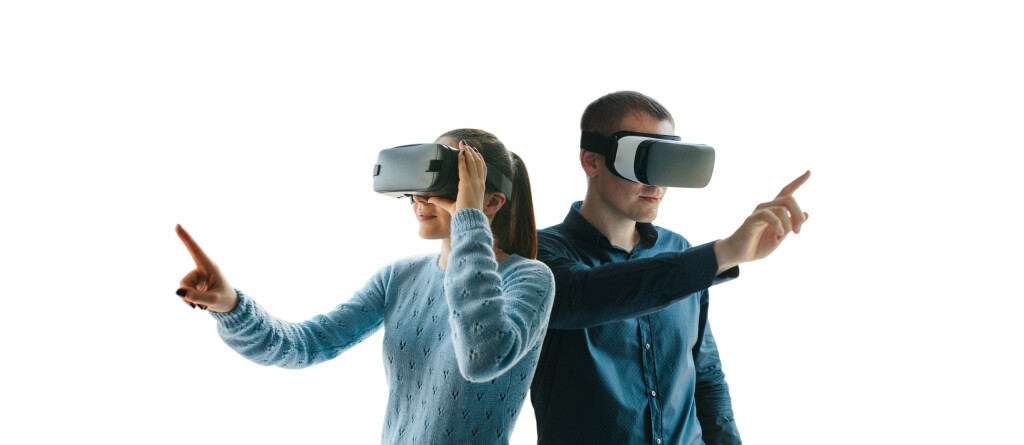 People in virtual glasses. VR